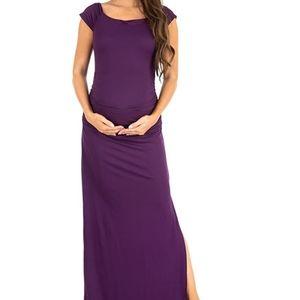 Maternity Maxi Dress Side Slits Ruched Sides